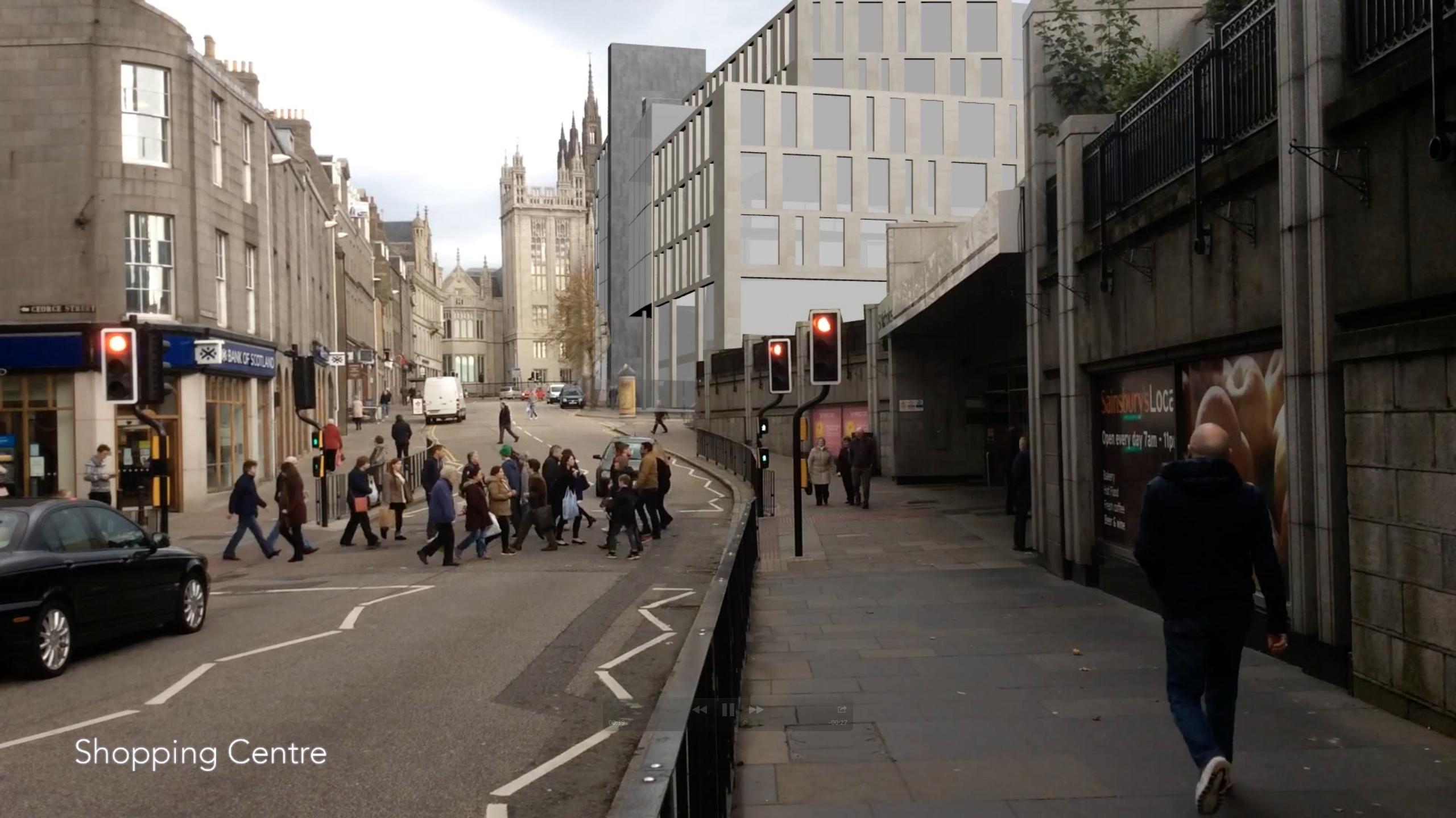 A screenshot of the video showing 3D version of Aberdeen's Marischal Square development
