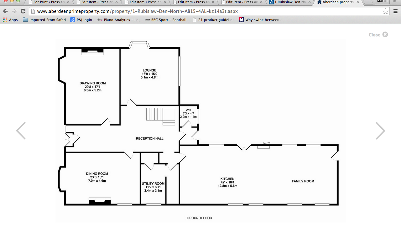 Floor plans for 1 Rubislaw Den North ground floor