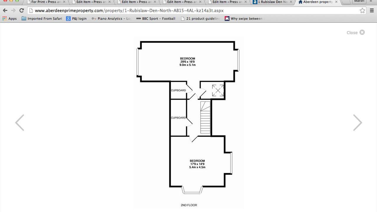 Floor plans for 1 Rubislaw Den North top floor