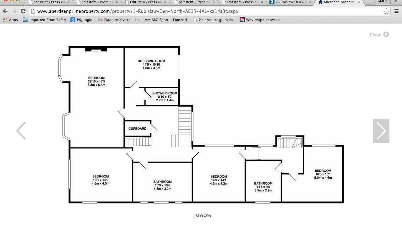Floor plans for 1 Rubislaw Den North first floor