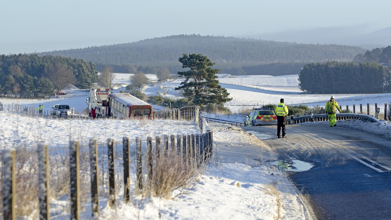 The road, scene of regular crashes due to the layout and wintery conditions