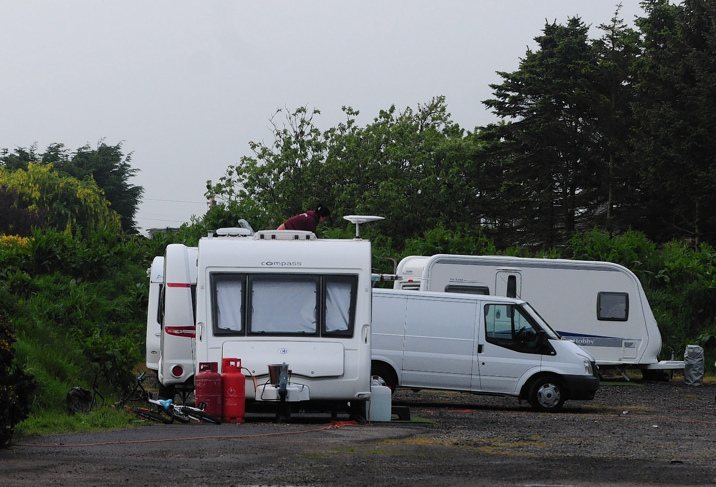 Travellers set up camp near Royal Aberdeen Golf Club shortly before it hosted last year's Scottish Open