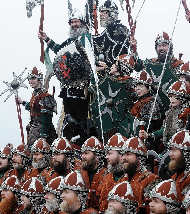 The Jarl Squad, led by Guizer Jarl, Neil Robertson, have marched through Lerwick. (Pictures by Kenny Elrick)