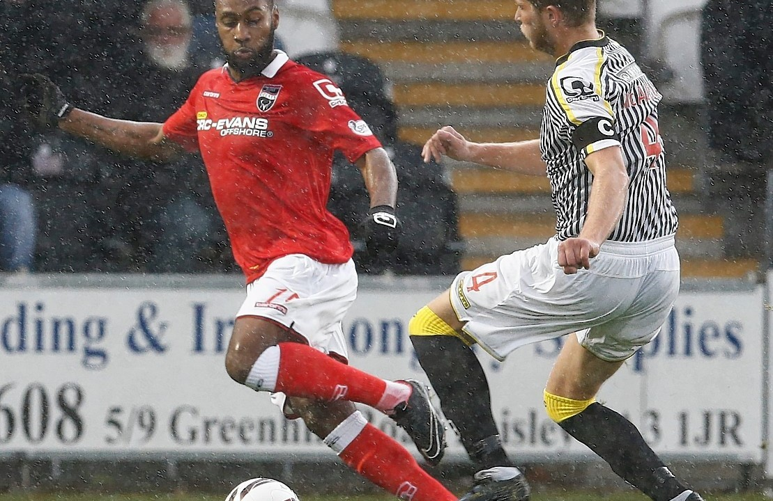 Arquin playing for County against his new club, St Mirren