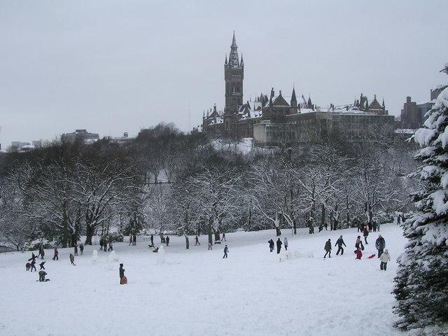 Kelvingrove Park in Glasgow is a popular spot for sledging