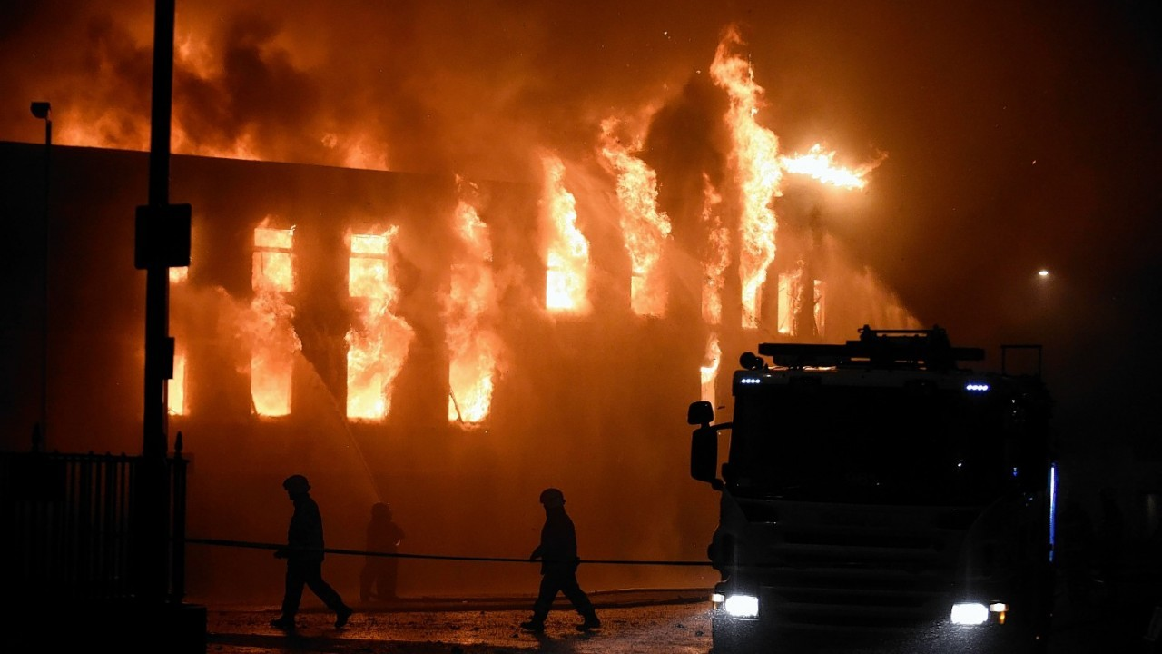 The fire tore through two buildings