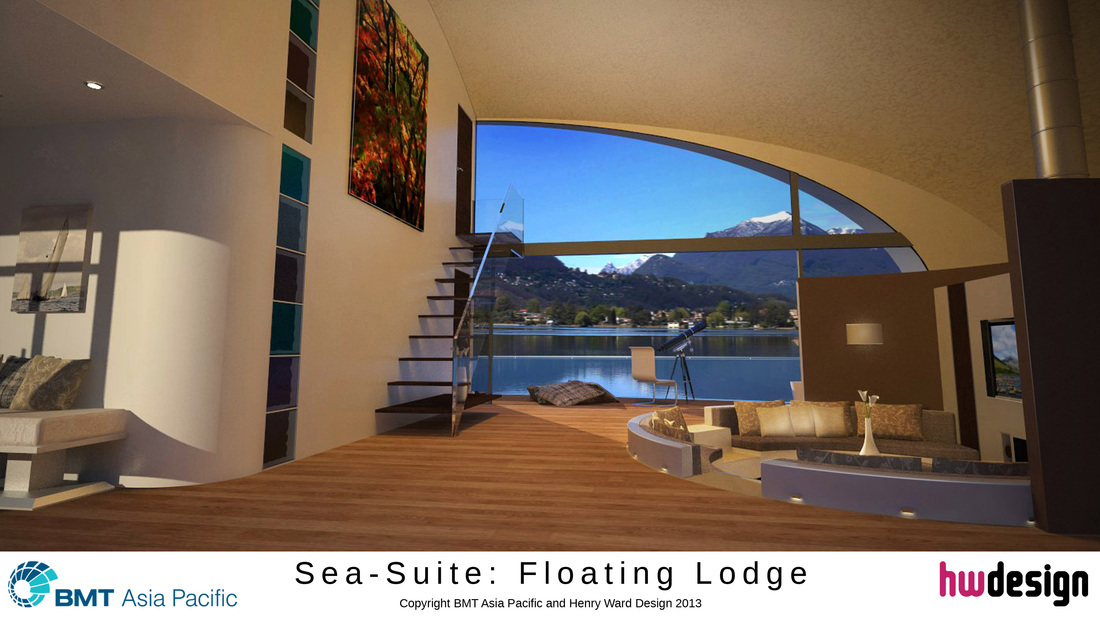 The interior of the floating lodge designed by Henry Ward, of Banchory.