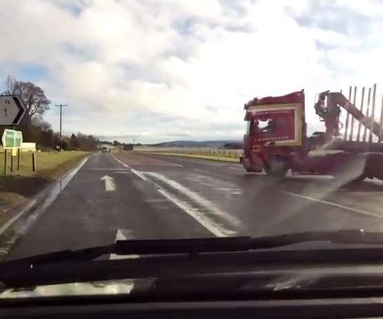 The lorry driver failed to spot the car but the incident was caught on a dash cam