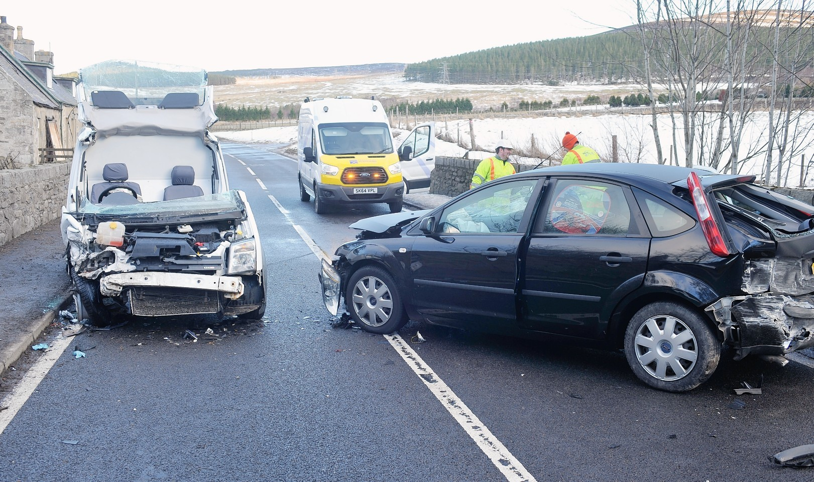 The scene of the crash on the A95 at Advie