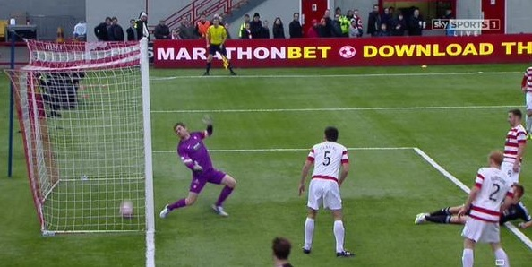 The referee and linesman failed to spot that the ball had crossed the line