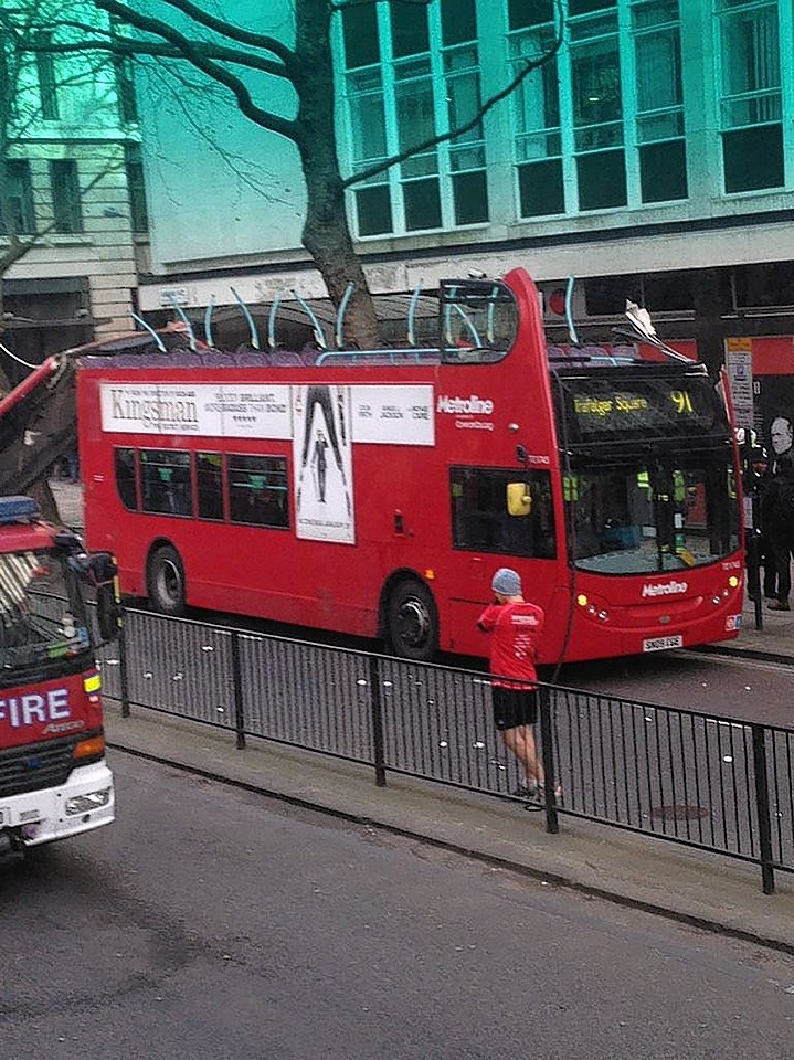 The pictures reveal the damage done to the bus earlier today