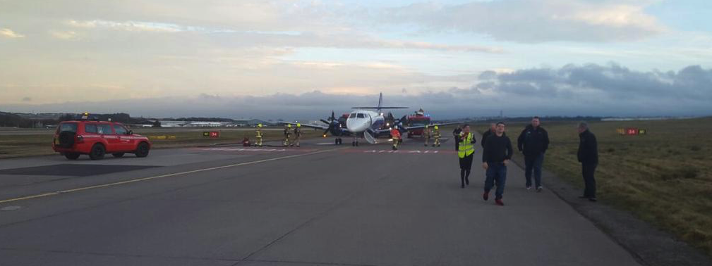 Emergency services at the scene at Aberdeen Airport. Picture by: @jackoshot