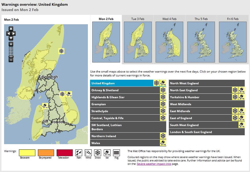 Weather warning for north-east