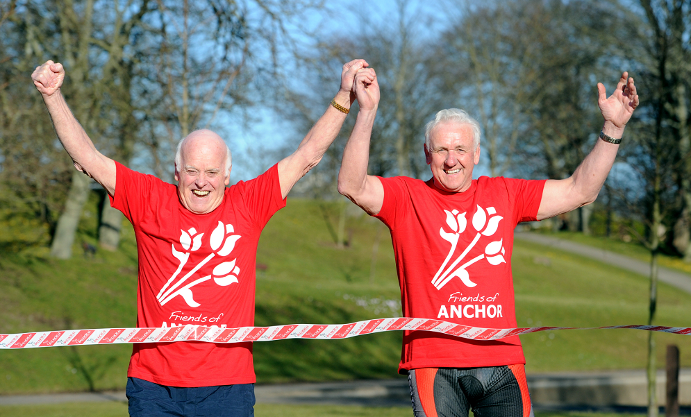Friends of Anchor Chairman Jimmy Milne and Bert McIntosh don their running shoes.