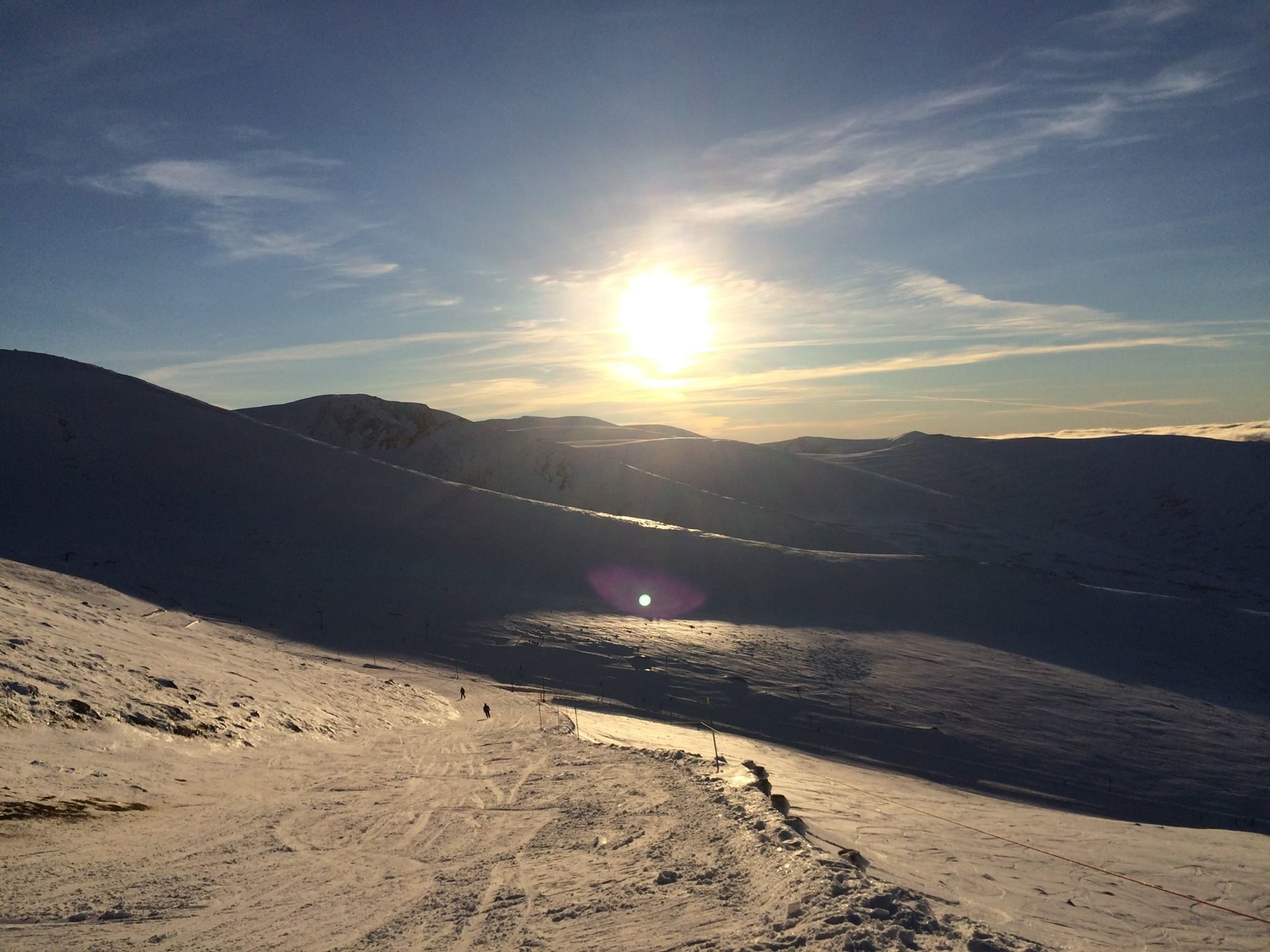 Scottish munro, Cairngorm - home to one of Scotland's largest ski resorts -  experiences a beautiful sunset