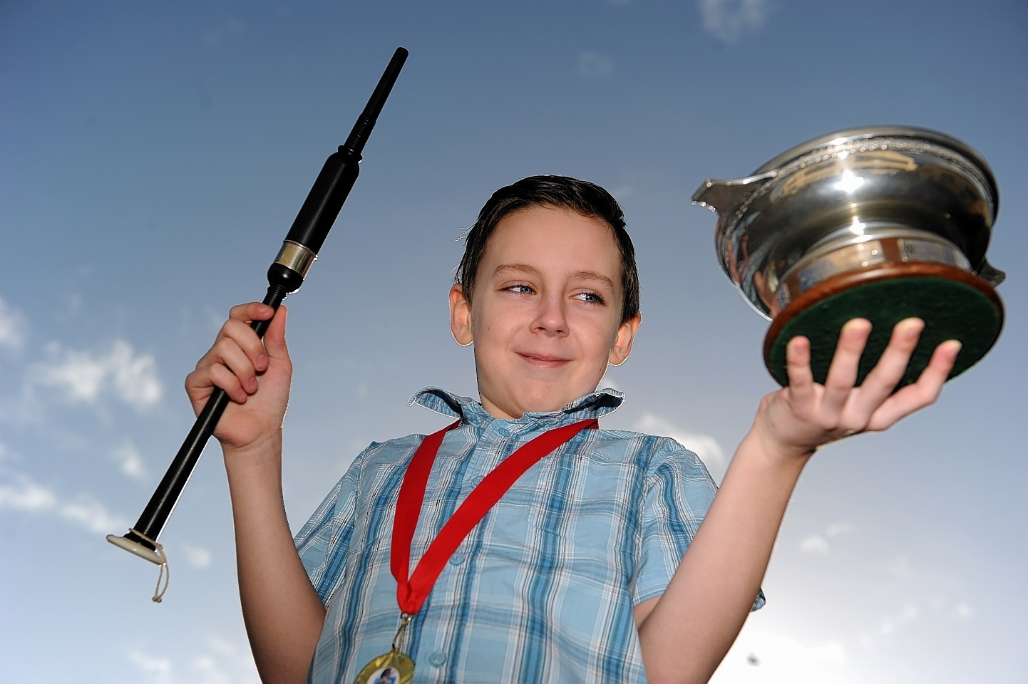 Calum MacLeod with his trophy after winning the 11 and under chanter contest
