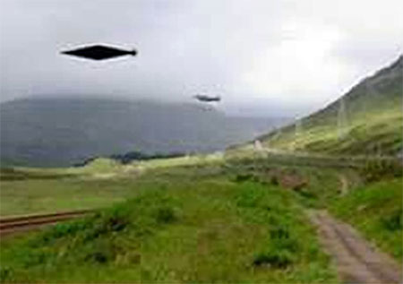An artist's impression of the UFO above Calvine after the original picture was taken