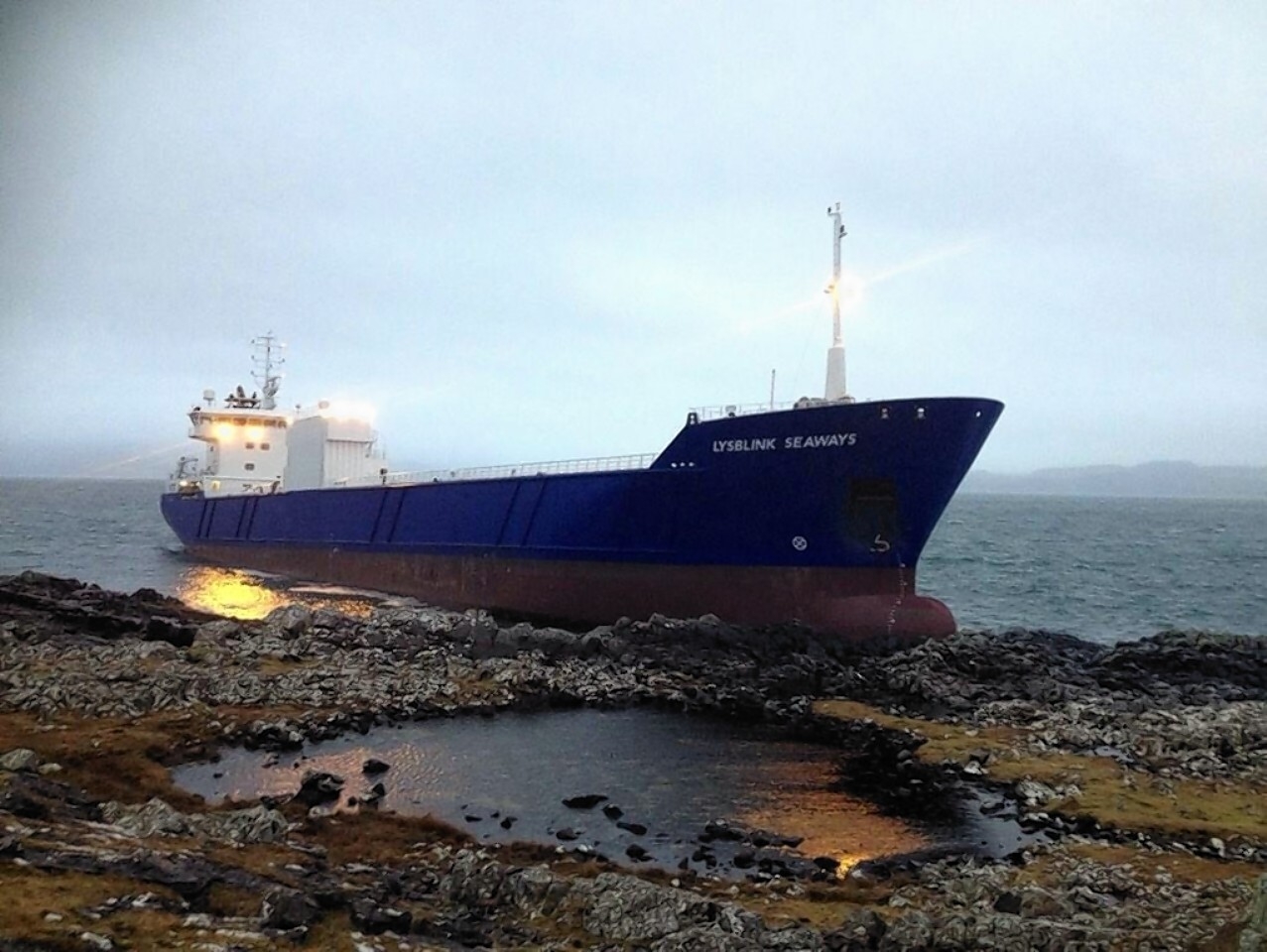 The large cargo ship with nine people on board got into difficulty near Ardnamurchan Point in the West Highlands.