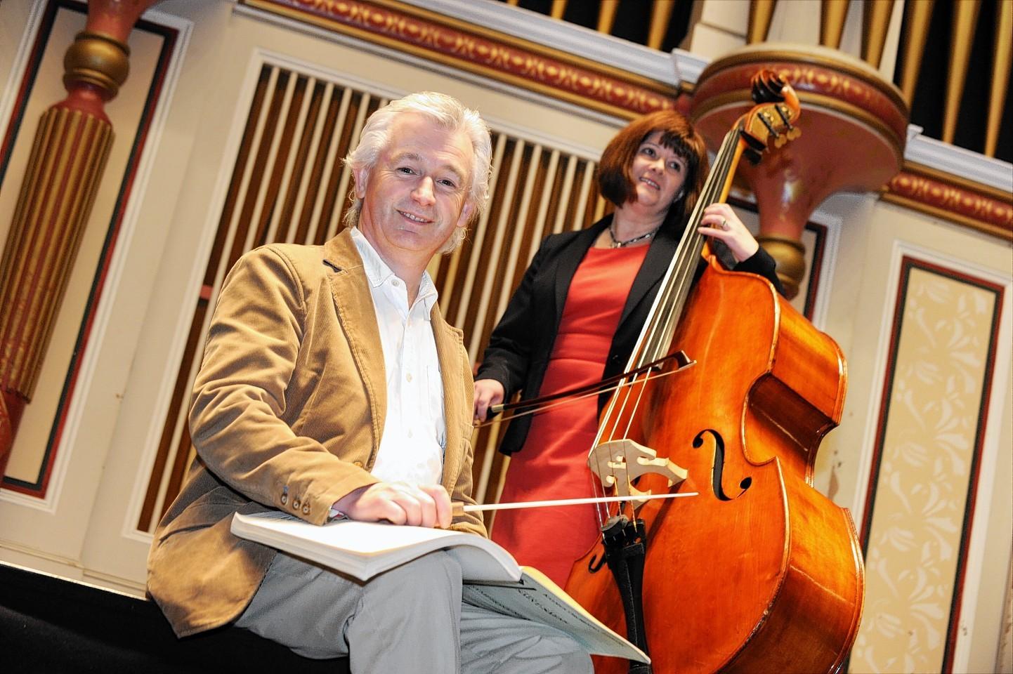 Conductor Gareth John with cancer survivor Shona Owen