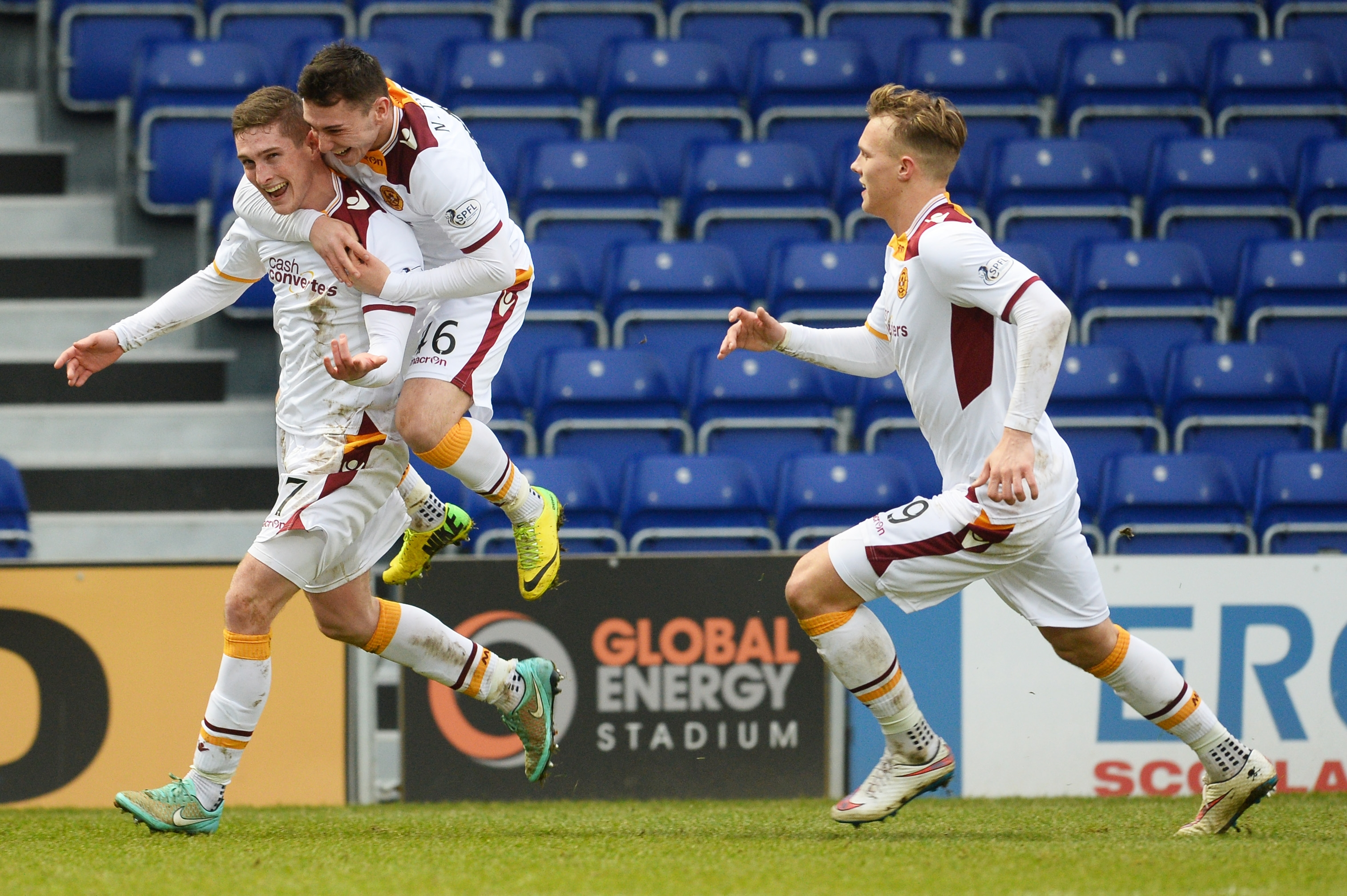 Motherwell celebrate Conor Grant's strike