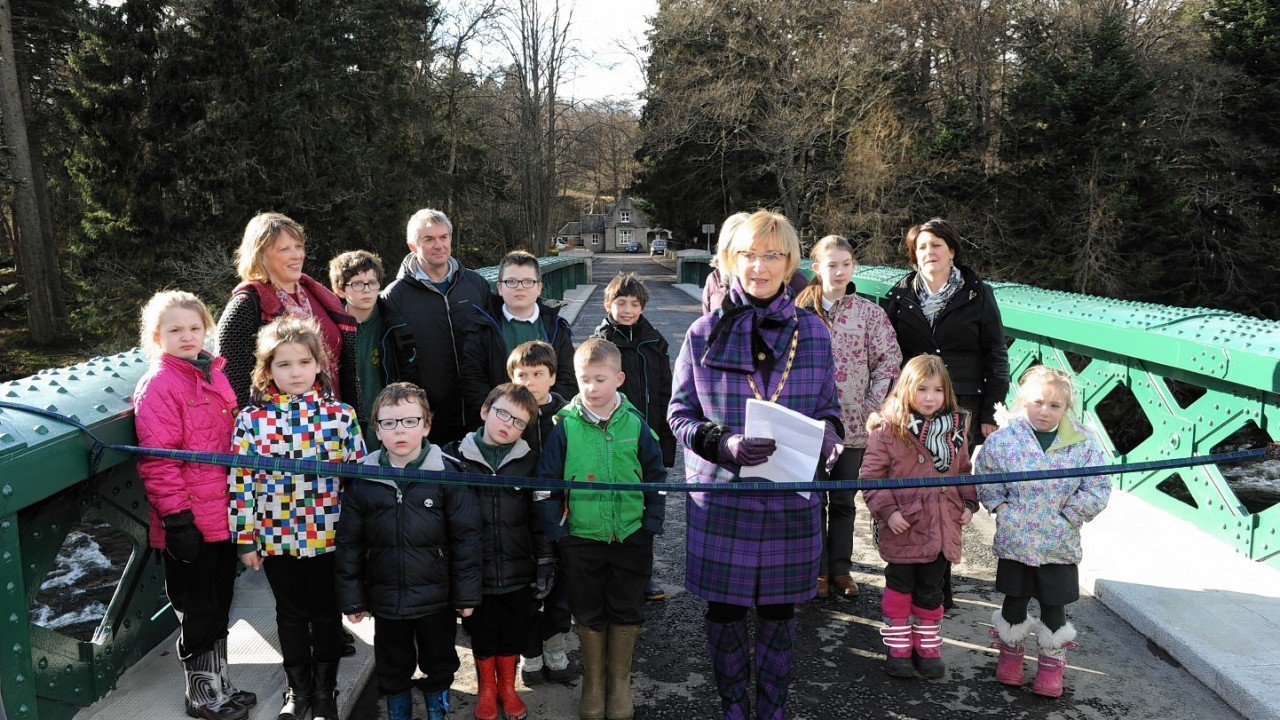 The Crathie Primary youngsters were on hand to cut the ribbon at the Balmoral Bridge