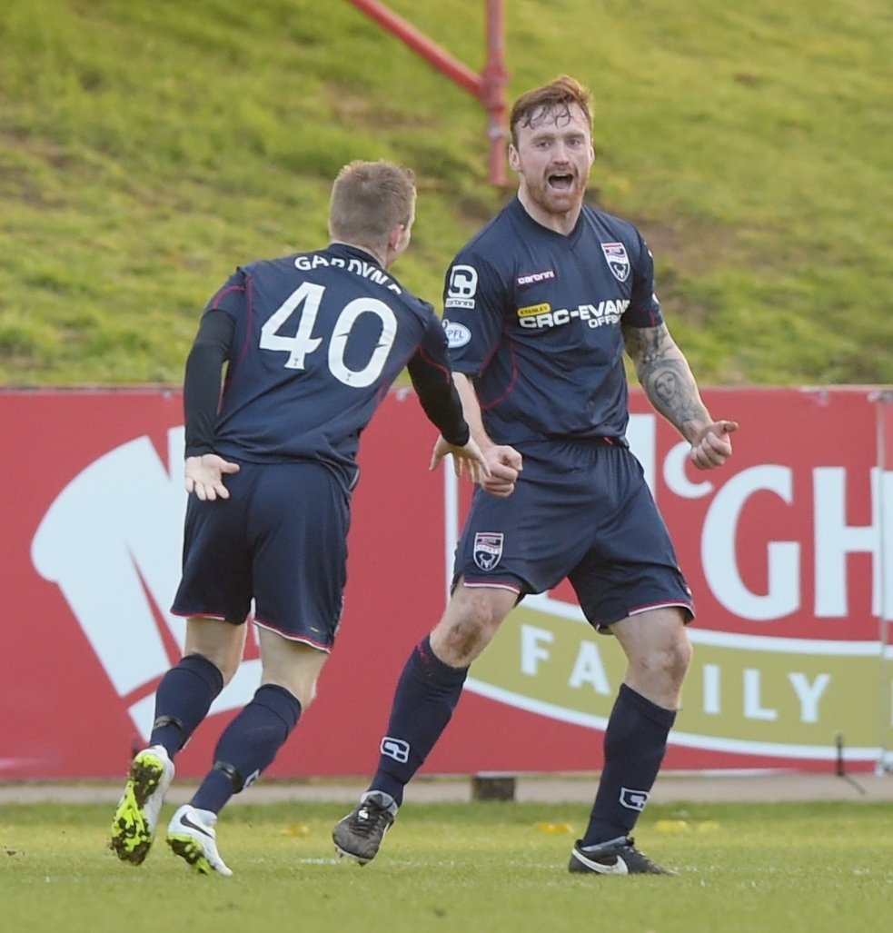 Craig Curran celebrates hitting the back of the net