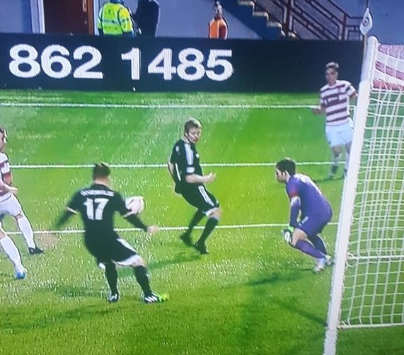 David Goodwillie had this goal chopped off for offside despite Eamonn Brophy playing the striker a number of yards onside