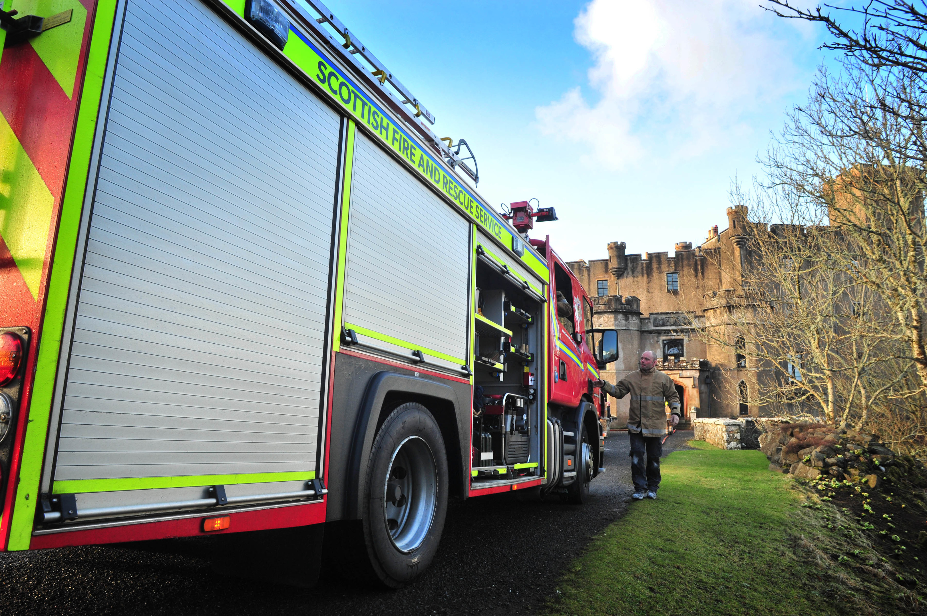 Fire crews are at Dunvrgan Castle, Skye.