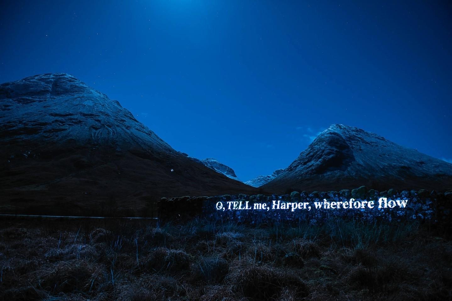 Sir Walter Scott poetry displayed on Glencoe mountains