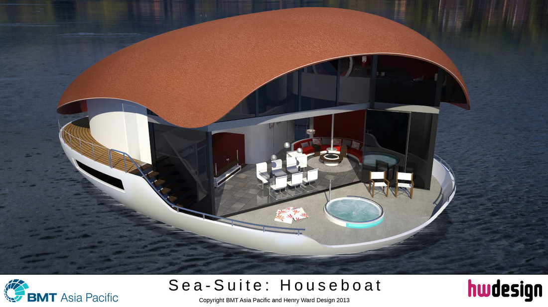 The egg-shaped  Houseboat, designed by Henry Ward, of Banchory.