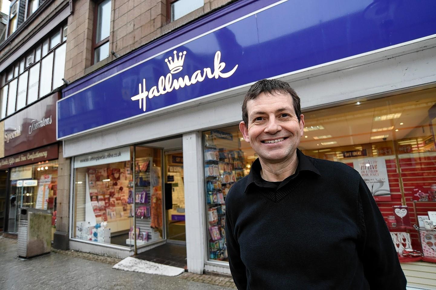 Ian Sutherland runs a Hallmark and Thorntons shop in Marischal Street