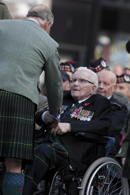 Gordon Highlander Jimmy Scott MBE meeting Prince Charles