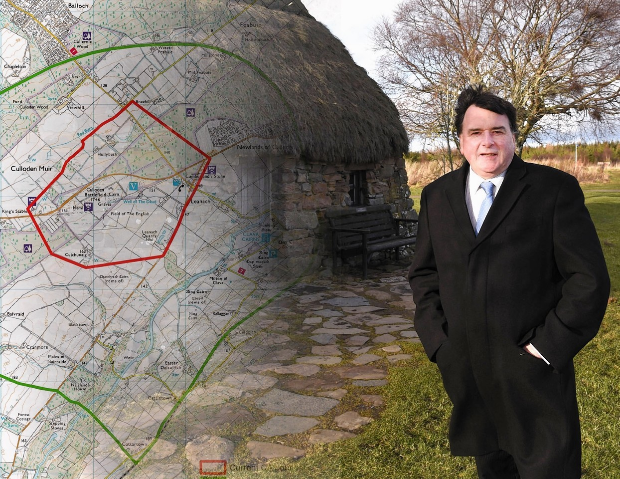 A photo montage showing Ken Gowans with the Culloden boundaries