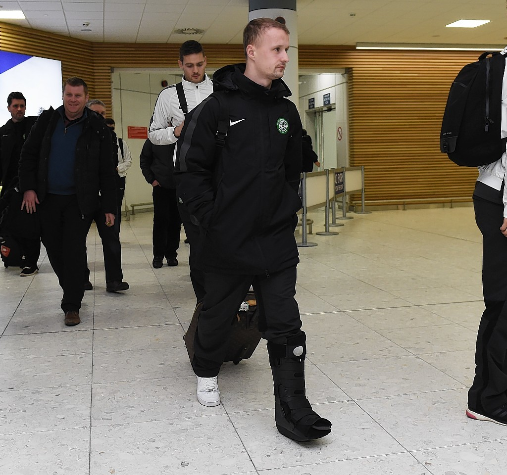 Griffiths returned from Italy with his leg in a protective cast