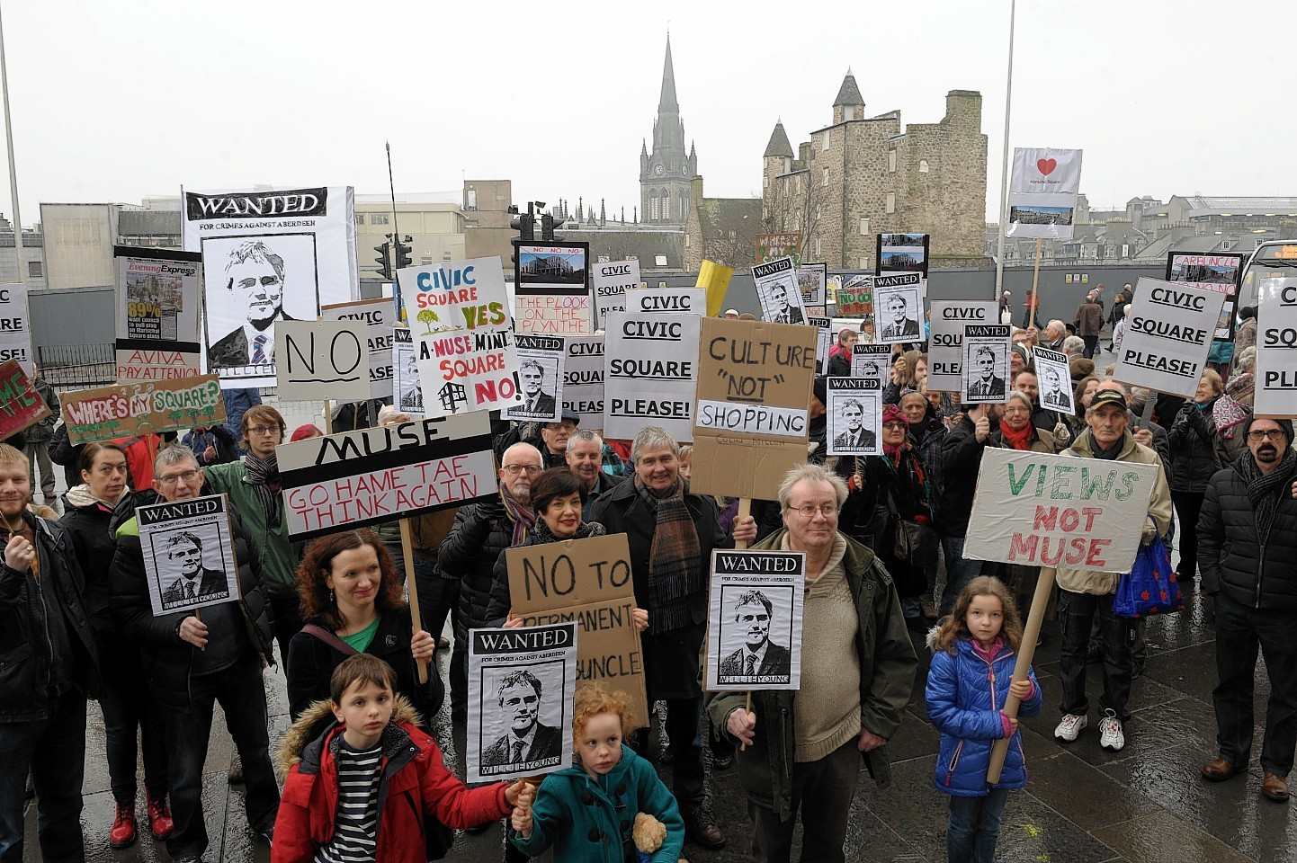 Protesters at demonstration against Marischal Square scheme