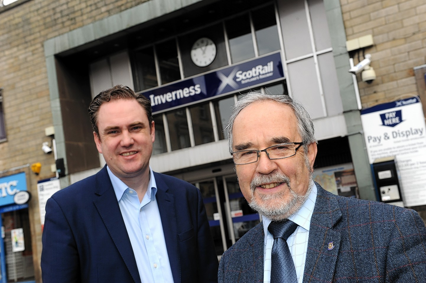 Mike Kean, Abellio, left, and Cllr. Thomas Prag at Inverness train station