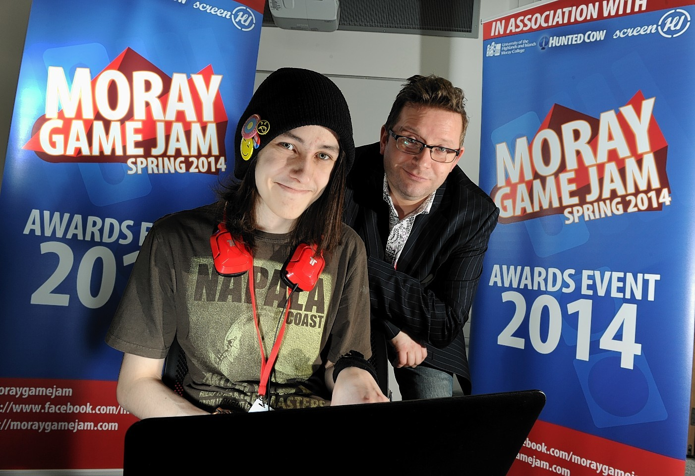 Brian Baglow, Director of Scottish Games Network with Chris Day, HND Interactive Media student, taking part in last year's Moray Game Jam