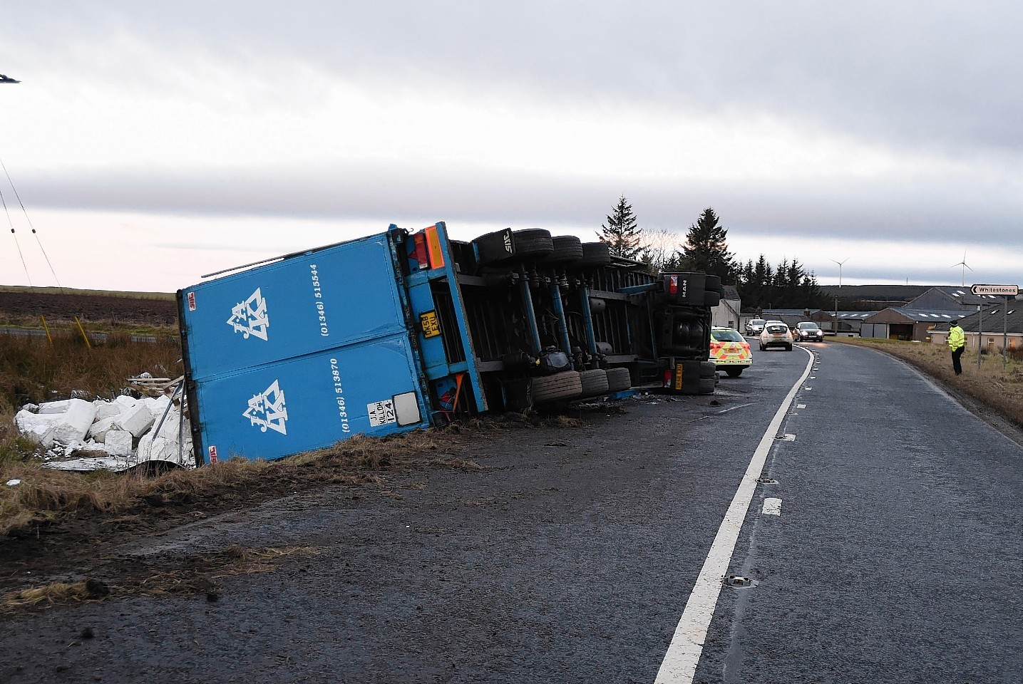 Overturned lorry on the A98