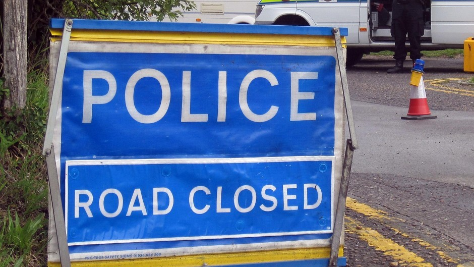 The A9 was closed temporarily this evening following the crash