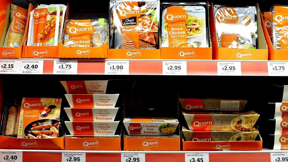 Quorn products on a supermarket shelf