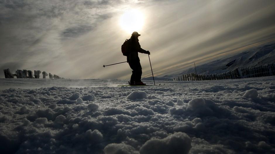 A skier enjoys fine conditions on Glenshee