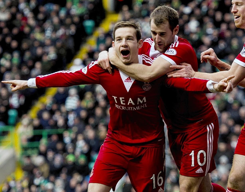 Peter Pawlett celebrates netting the winner against Celtic
