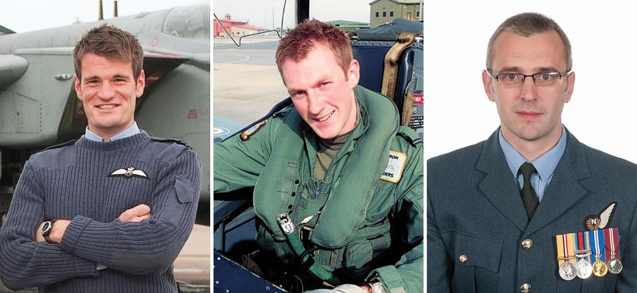 Flight Lieutenant Hywel Poole (left), Flight Lieutenant Adam Sanders (centre) and Squadron Leader Samuel Bailey were killed in the crash