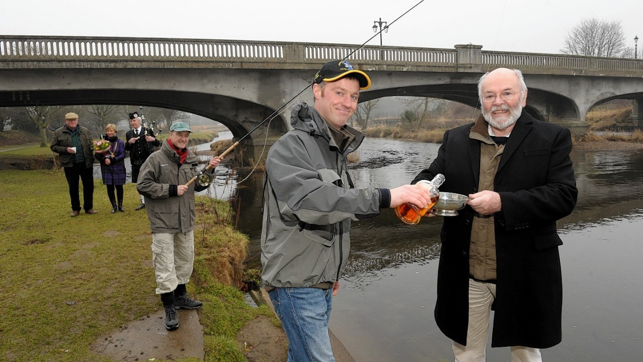 The launch of the fishing season at the River Don, Inverurie