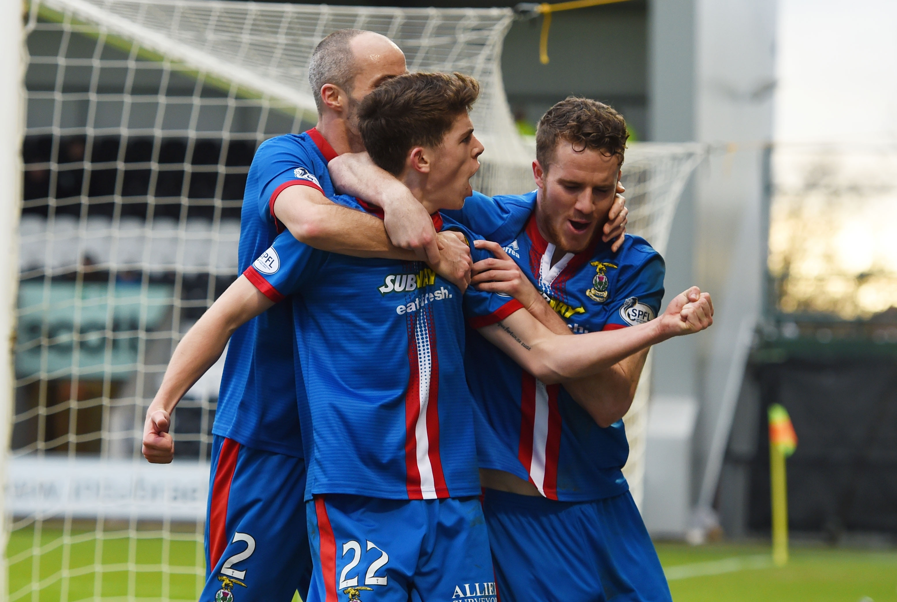 Ryan Christie celebrates netting Caley Thistle's second goal on Saturday
