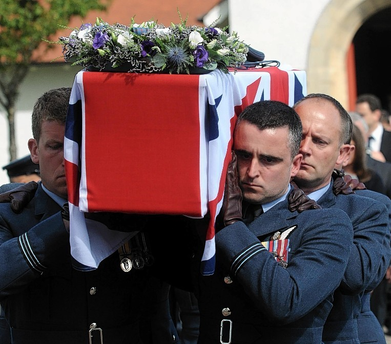 The funeral of Flight Lieutenant Samuel Bailey, 36, today at Saint Gerardines Church in Lossiemouth