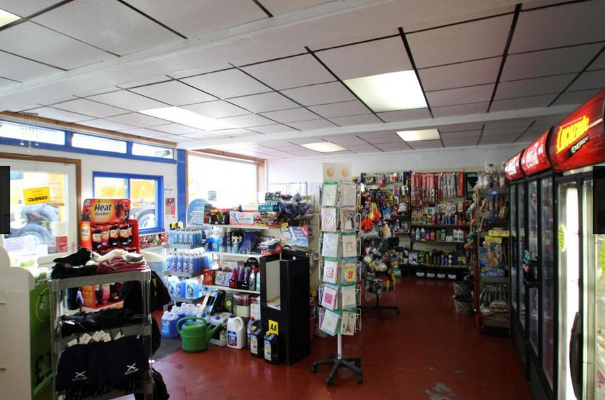 The interior of the petrol station shop