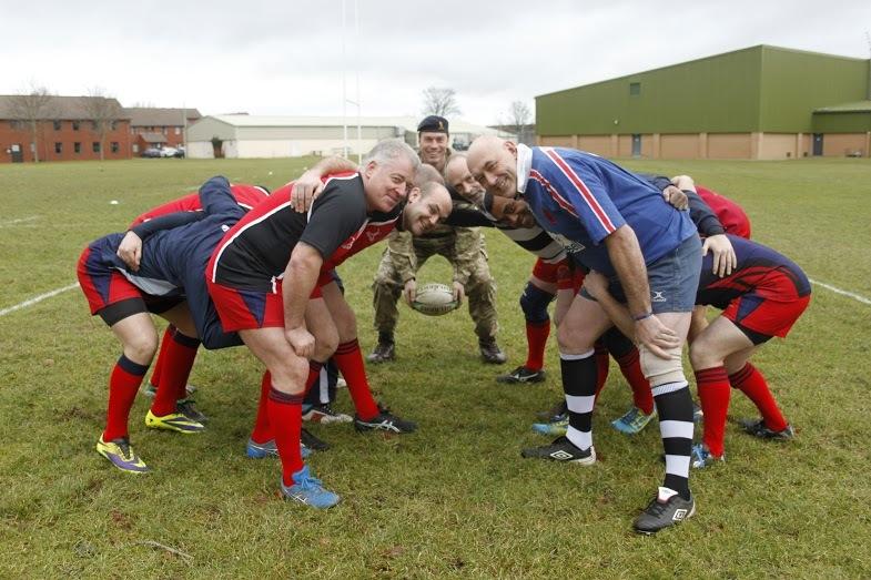 Kinloss RAF  hosting golden oldies rugby festival. Lt Col Tom Marsden overseeing scrum