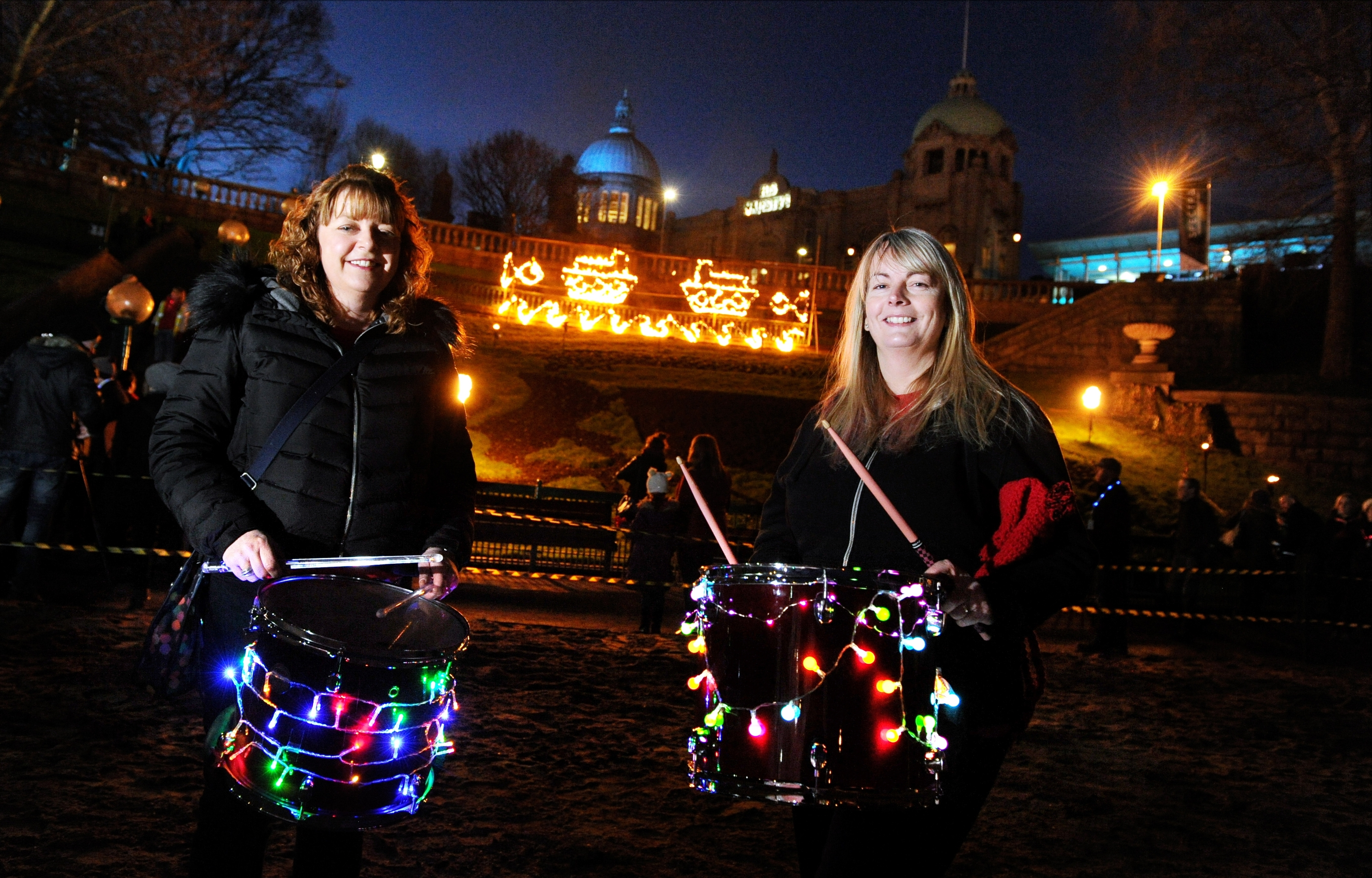 Carmen Murison and Julie Cleverdon performing in Union Terrace Gardens as part of last year's Spectra. (Picture: Kevin Emslie)