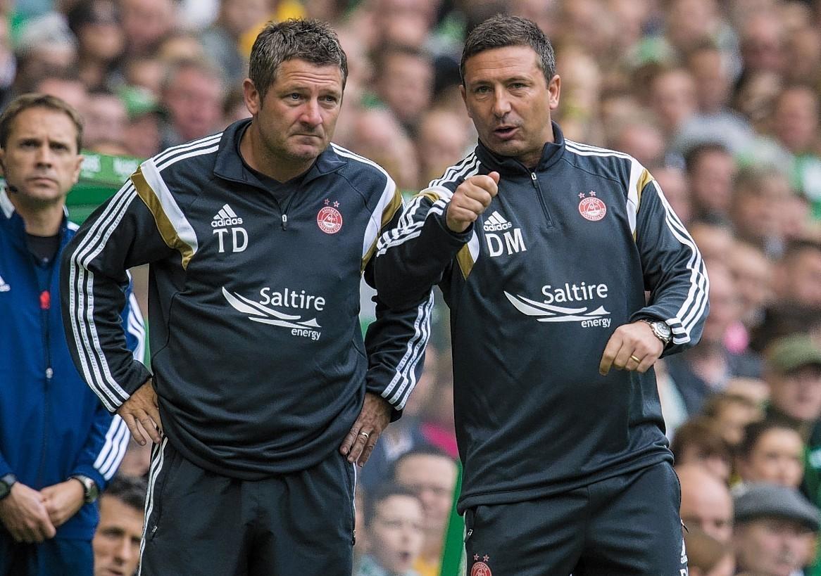 Derek McInnes with assitant Tony Docherty at Parkhead